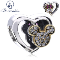 Slovecabin Diy Fit Charm Bracelets Authentic 925 Sterling Silver Mickey Heart Beads Jewelry Making Diy Silver