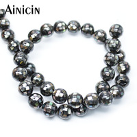 1pc New Arrival Natural Shell Joint 10mm Black Color Beads 16'' Fashion Round Shape Jewelry Making Materials