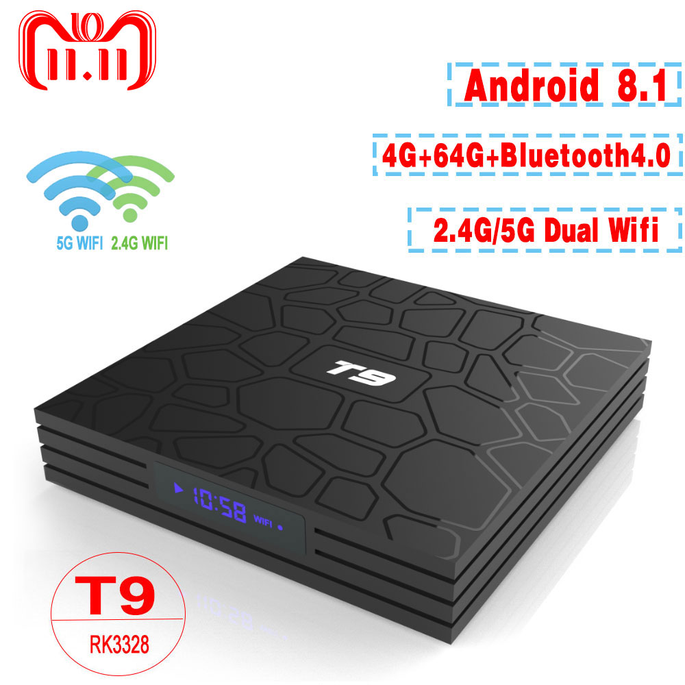 T9 TV Box Android 8,1 4 GB 64 GB RK3328 Quad-Core 4 K HD Wifi BT4.0 USB3.0 inteligente TV Box 4 K tienda de juegos de Google Netflix, Youtube Box TV