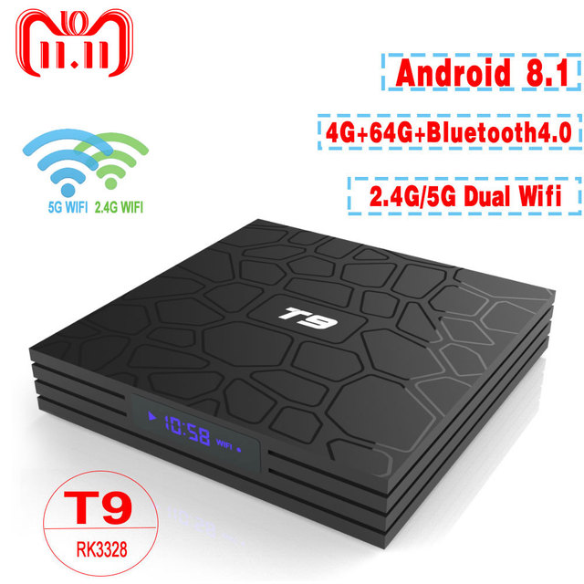 tv box android 8.1 4gb 64 gb 4k  Best Price T9 TV Box Android 8.1 4GB 64GB RK3328 Quad-Core 4K HD ...