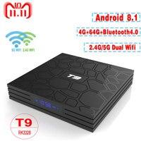T9 TV Box Android 8.1 4GB 64GB RK3328 Quad Core 4K HD Wifi BT4.0 USB3.0 Smart TV Box 4K Google Play Store Netflix Youtube Box TV