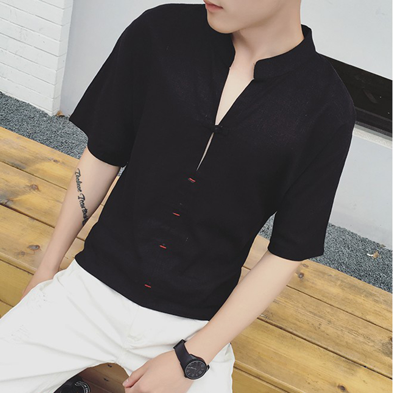 2018 Shirt Flax Restore Ancient Ways Will Code Tide Male Cotton letter personality wild casual Favourite Fashion Free shipping