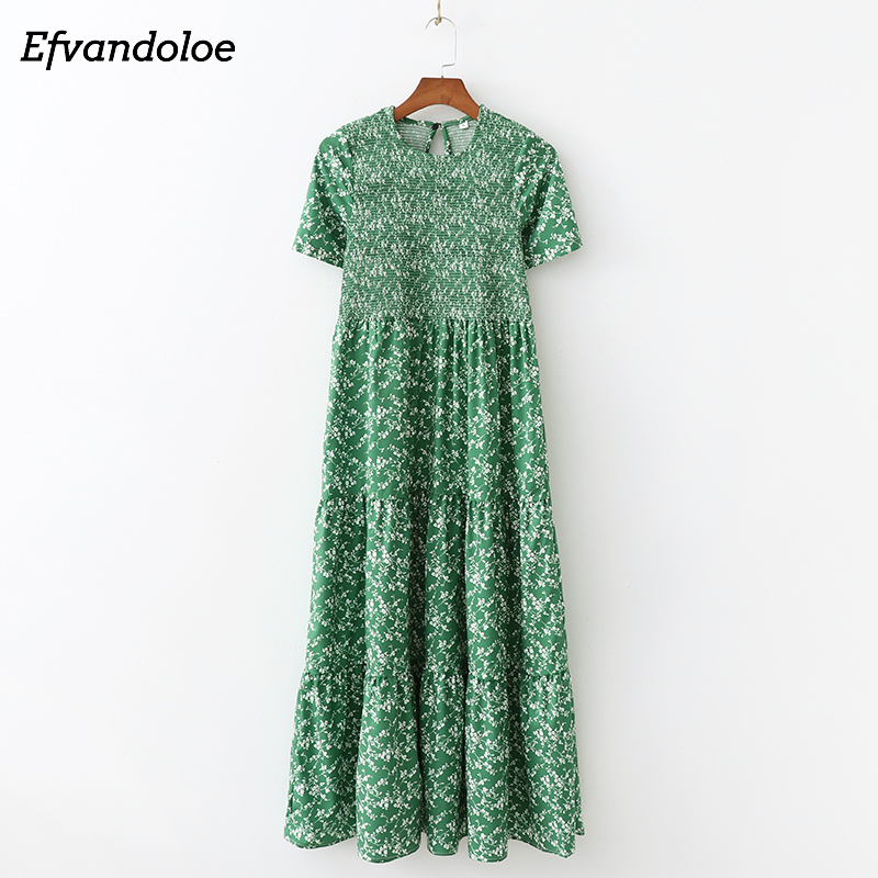 Efvandoloe Green Maxi Dress Long Floral 2019 Summer Dresses For Women Boho Clothes Jurken Robe Femme