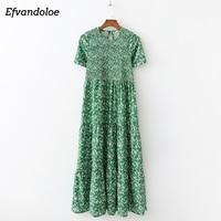 Efvandoloe зеленое Макси платье длинное цветочное 2019 летние платья для женщин Boho одежда jurken robe femme