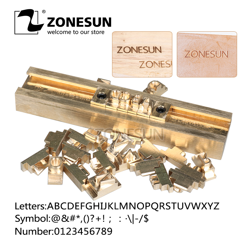 ZONESUN Custom Stamping Mold Name Heat Press Machine Brass Customized Logo On Wallet Shoes Leather Wooden Hot Foil Paper Stamp