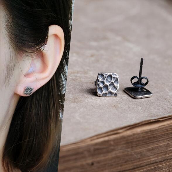 Punk Style Men Solid 925 Sterling Silver Square Stud Earrings Geometric Men Earings Jewelry Female Gift