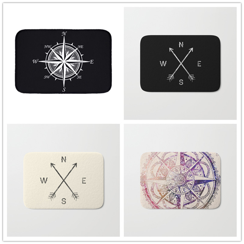 Simple Anchor Flannel Waterproof Mats Compass Arrow Carpets Bedroom Rugs Decorative Stair Mats Home Decor Crafts