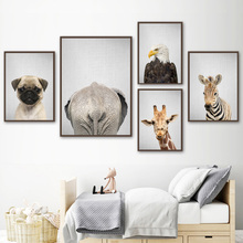 Giraffe Zebra Eagle Elephant Butt Dog Wall Art Canvas Painting Nordic Posters And Prints Decoration Pictures For Baby Kids Room