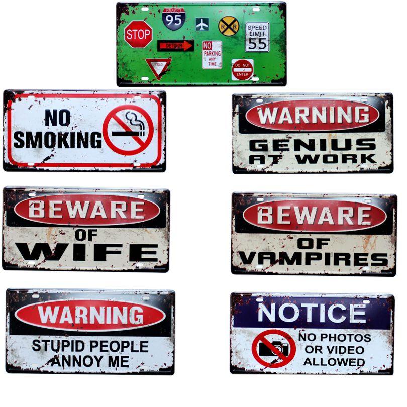 Предупреждение обратите внимание номерной знак Металл Картина Ретро знаки Винтаж стены Бар KTV Кофе дома Книги по искусству декор 30x15 см b-491b