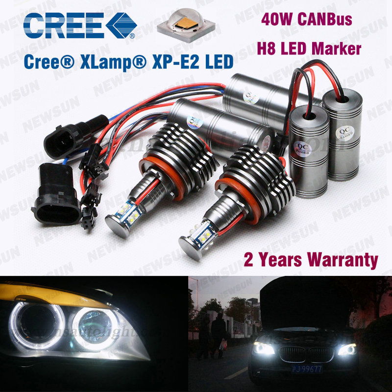 Bright White Led marker H8 80W/2*40W 1680LM Error Free Angel Eyes LED Halo Light For BMW E91 E87 E60 E63 E92 E93 X5 X6 E64 128I