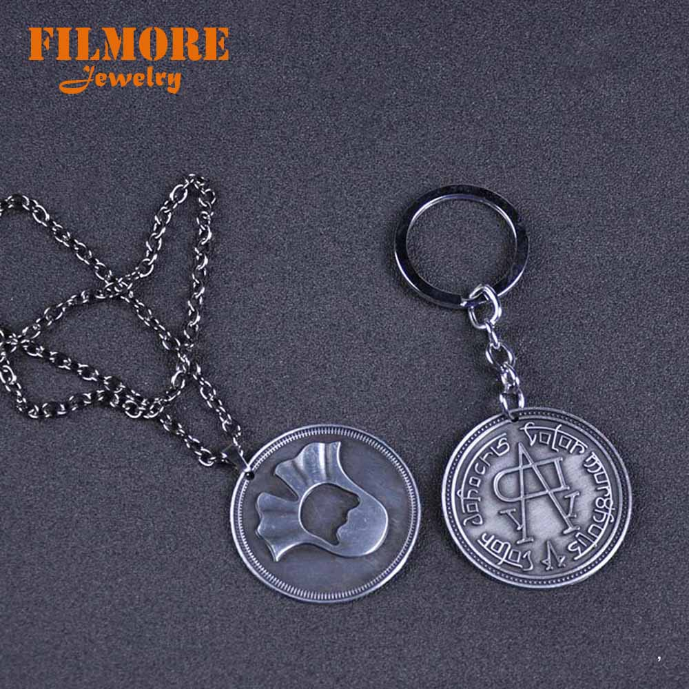 Game Of Thrones Pendant Keychain Arya Stark Faceless Men Valar Morghulis Metal Coin Collection Necklace Gift Toy For Movies Fans