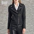 Матовый черный подлинной кожаные куртки пальто женщин 100% Овчины куртка мотоцикла офф-центр почтовый карман в юбке весте ан cuir femme LT727