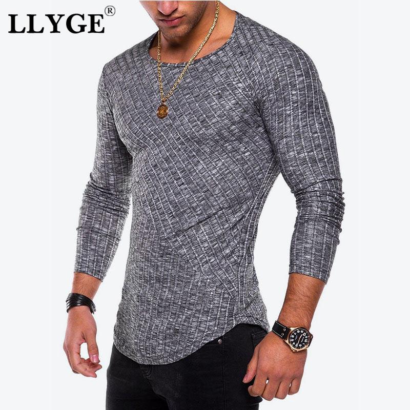 LLYGE Men O-Neck Sweater Top Slim Fit Knit Long Sleeve Casual Thin Pullover Men Plus Size 4XL Summer Male Streetwear Sweaters