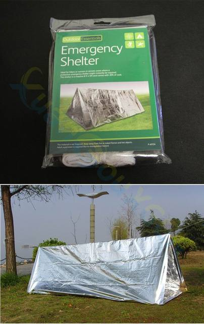 50pcs Disposable Emergency Shelter Tent Outdoor Ultralight Portable Camping SOS Shelter Mylar Emergency Tube Tent First Aid Gear