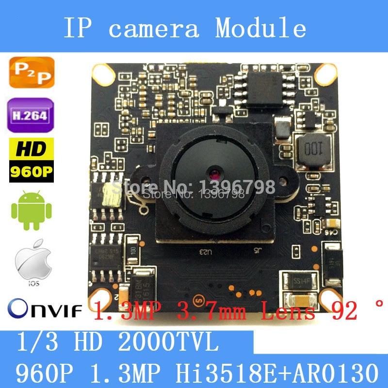 1.3 Megapixel IP Camera Module Board 1280*960P CCTV Camera IP Chip Board 1.3MP 3.7mm Lens Pinhole Camera Mobile Phone View freeshipping rs232 to zigbee wireless module 1 6km cc2530 chip