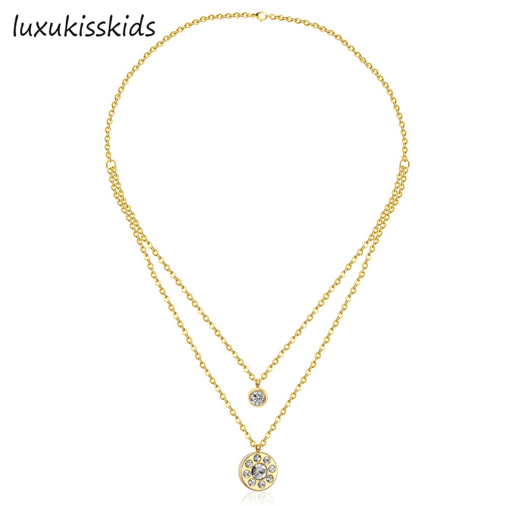 LUXUKISSKIDS Hot Sale Jewelry Necklace Stainless Steel Gold Color Elegant Fine CZ Crystal Round Pendant Double Chain Necklace