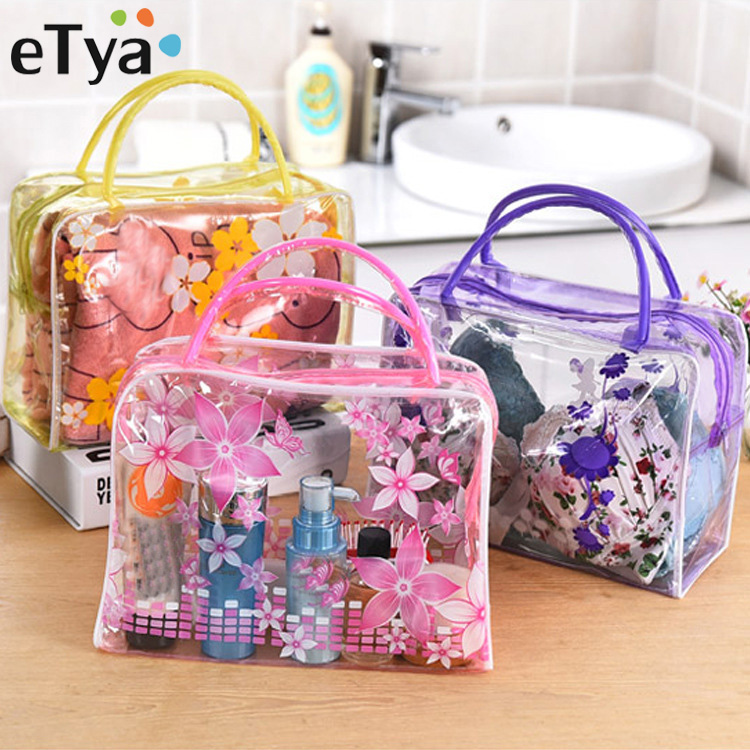 ETya Travel PVC Transparent Cosmetic Bag Wash Bag Clear Floral Stripe Bathing Underwear Storage Toiletries Waterproof Pouch Tote