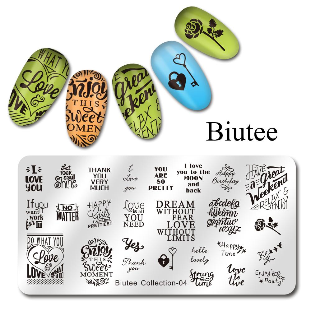 Image 3 - Biutee Nail Stamping Plates Stamper Scraper Nail Template Flowers Geometric Patterns DIY Nail Designs Manicure Stamp Plate-in Nail Art Templates from Beauty & Health