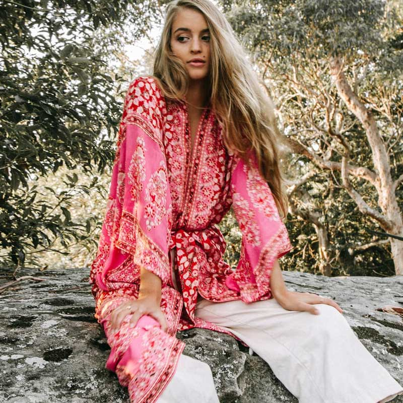 Boho Summer Three Quater Sleeve Floral Printed   Trench   Women Maxi Kimono Cardigan Loose Outwear Beach Clothes