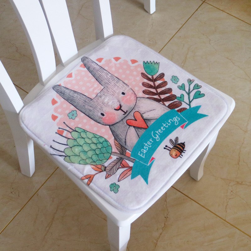 Cheap Soft Rabbit Seat Pad For Kids Square Indoor Dining Chair Foam Cushion Cartoon Decorative Chair Cushion For Student,40*40cm