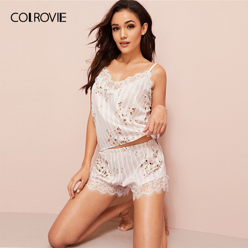 COLROVIE Pink Floral Print Eyelash Lace Satin PJ   Set   2019 Summer Sexy   Pajamas   For Women Sleeveless Sleepwear Striped   Pajama     Set