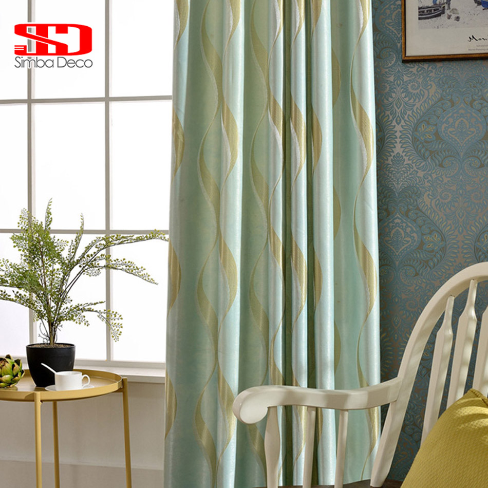 Green bedroom curtains - Modern Blackout Curtains For Living Room Kids Bedroom Jacquard Drapes Green Window Kitchen Shading Panel Blinds