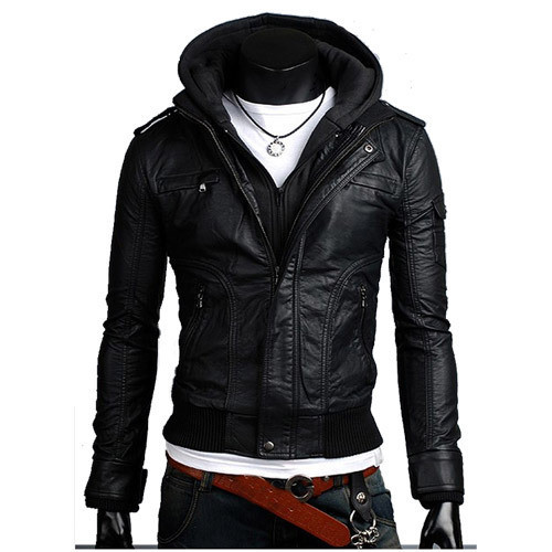 Mens Black Leather Jacket With Hood 5t10xe