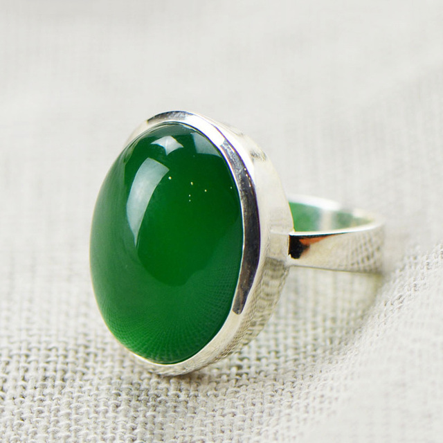 Natural Green Chalcedony Ring 925 Sterling Silver Bague Femme Wedding Punk Pure S925 Thai Silver Rings for Women Jewelry