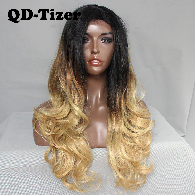 QD Tizer 3 Tones Synthetic Lace Front Wig Ombre Blonde with Dark Brown Root Lace Front