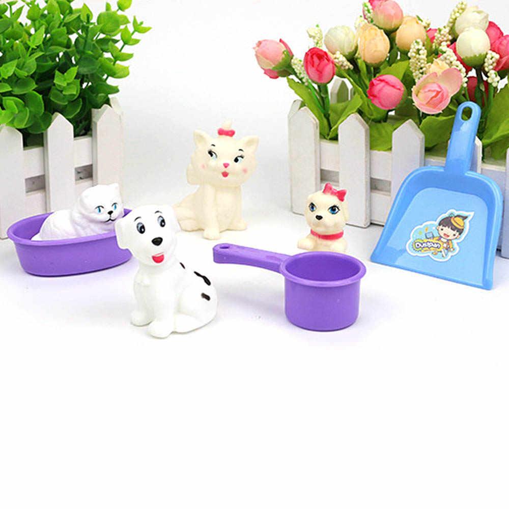 Play House Game Simulation Children Pretend Toys Simulation Pet Toys Pet Care Shop Tool  Bath Shower Cat 7 Pcs/set