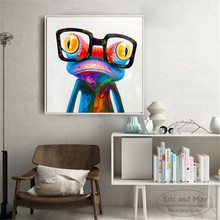 Cute Frog Cat Panda With Glasses Canvas Art Print Painting Poster Wall Pictures For Living Room Home Decorative Decor