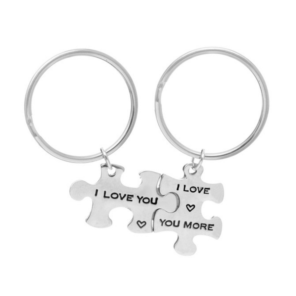 1 Pair Alphabet Puzzle Key Chain Letter I LOVE YOU Keychain For Lover Couples Sleutelhanger Bag Keyring Trinkets Valentine's Day