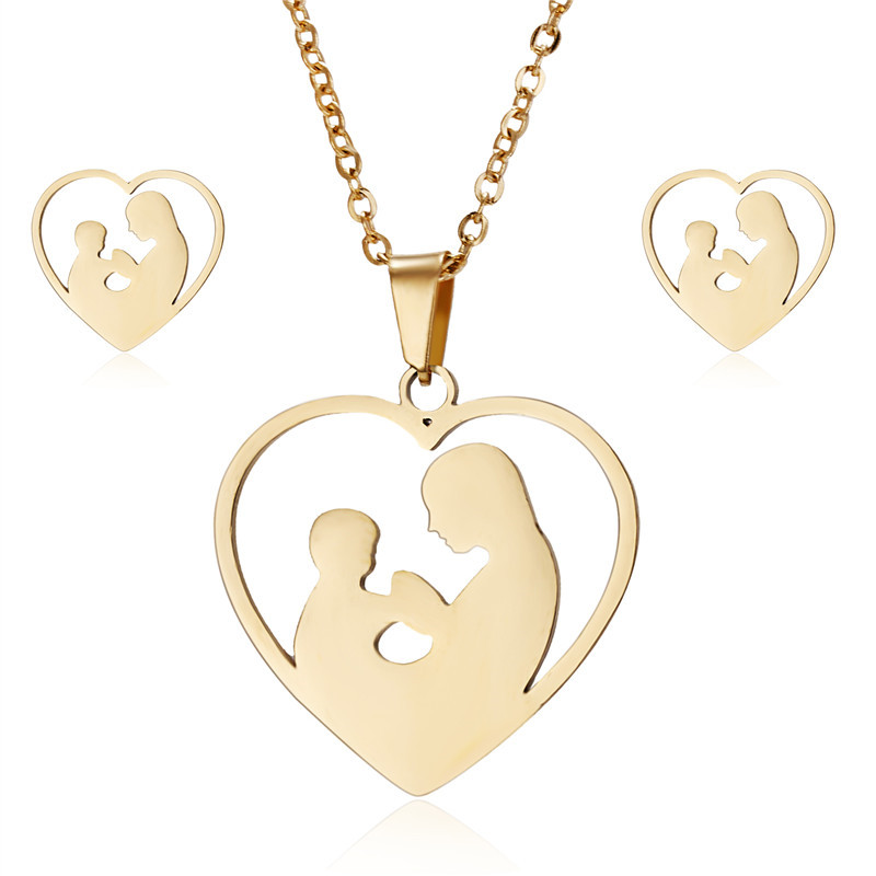 Gold Stainless Steel Mother Kids Jewelry Sets For Women Men Animal Decoration Earrings Necklaces New Year Day Gifts