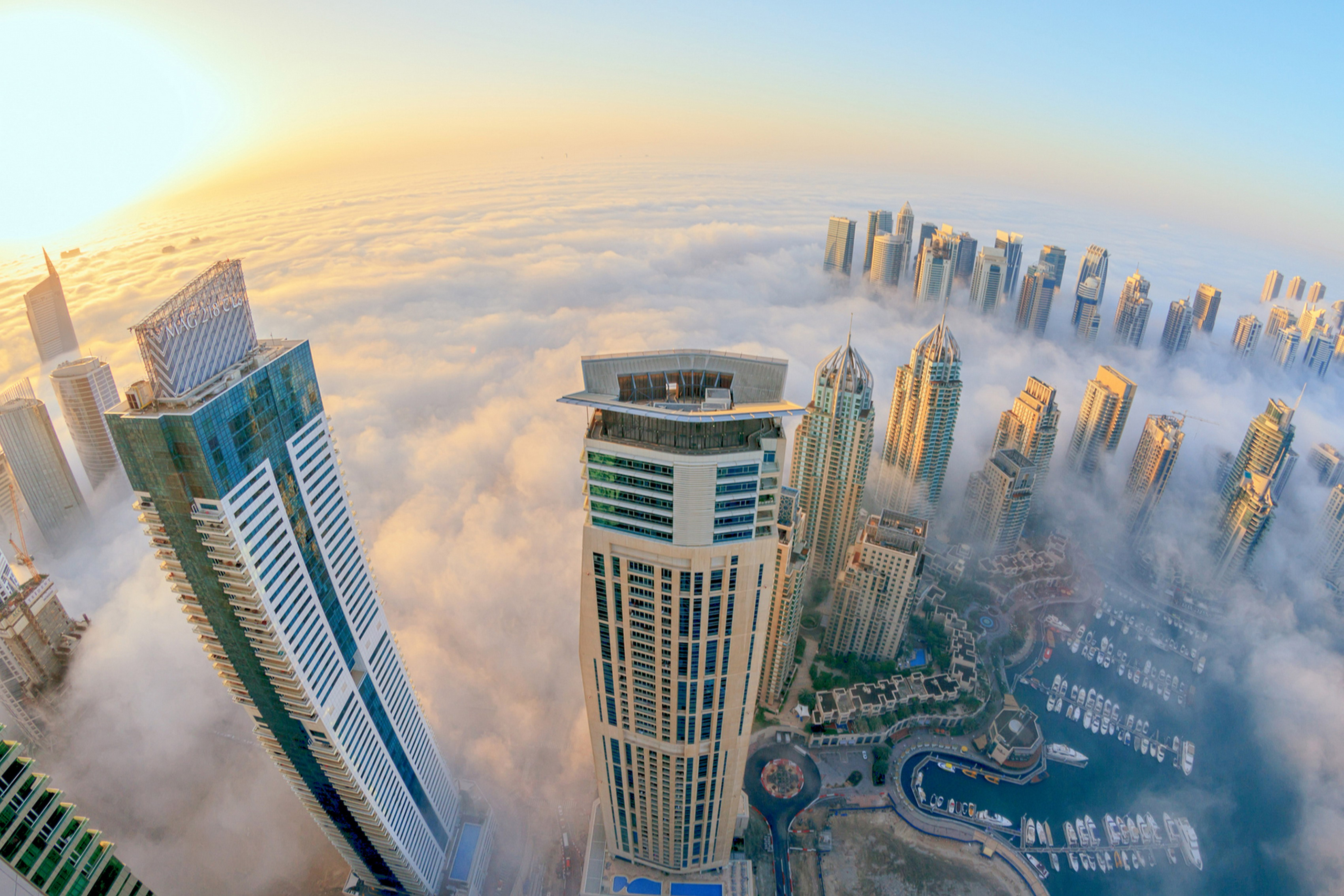 Home decoration Dubai Buildings Skyscrapers Clouds Fog Mist Sunlight Fisheye Silk Fabric Poster Print 106FJ