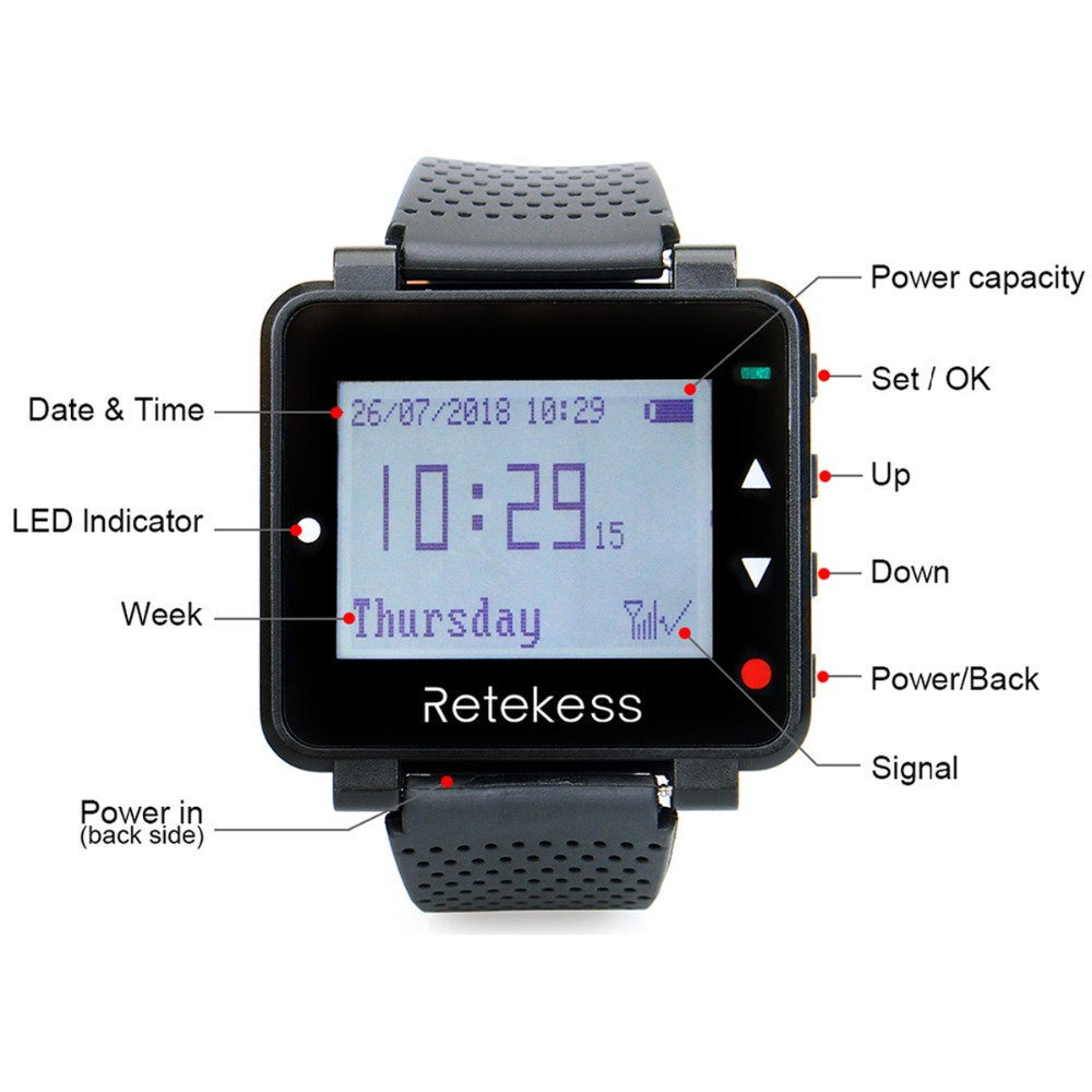 Image 3 - Retekess T128 Watch Receiver + 4pcs TD006 Table Card Pager Wireless Calling System For Restaurant Equipment Customer Service-in Pagers from Computer & Office