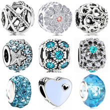 Fresh Style Blue Color Hearts Stars Owl Crystal Charms Beads Fit Pandora Bracelets & Bangles for Women DIY Making Jewelry Bijoux(China)