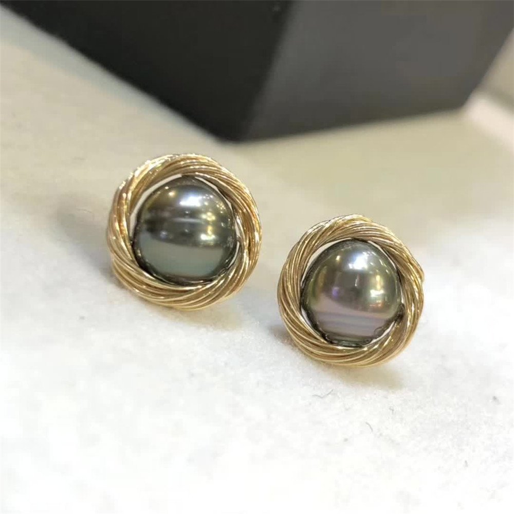 hand made fine jewelry factory wholesale fashionable 14k gold wrap natural white pearl gemstone stud earring for female 1
