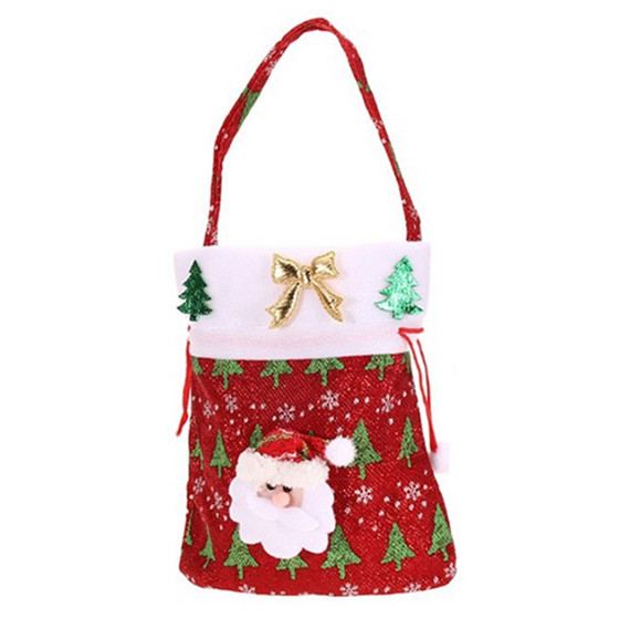 Best New Year Chrismas Santa Claus Kids candy gift bags Handbag Wedding Sack Present Bag Christmas Decoration(Red/Green)