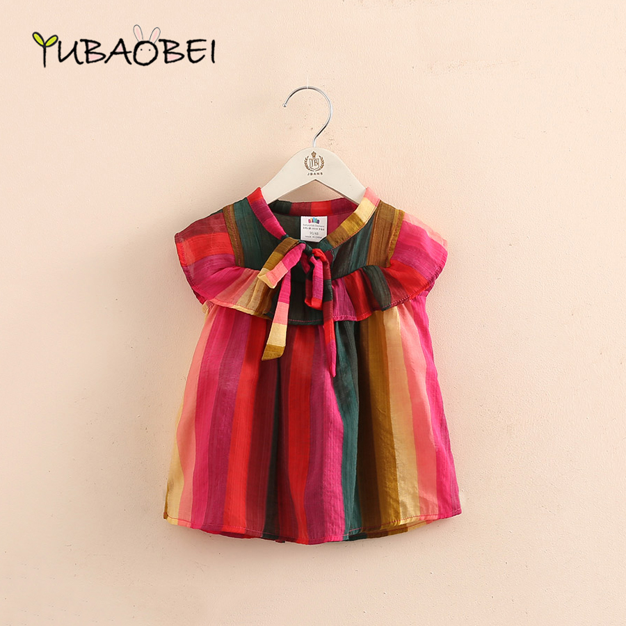 Baby Rainbow Doll Girls   Blouse     Shirt   2018 Summer New Girl Child Children's Flying Sleeve Colorful Owknot   Shirt