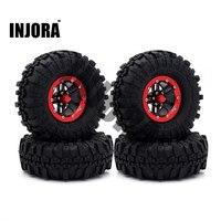 4 CÁI Kim Loại Màu Đỏ Beadlock Wheel Rim & Lốp cho 1/10 RC đá Crawler Traxxas TRX4 Trục SCX10 90046 RC4WD D90 D110 TF2