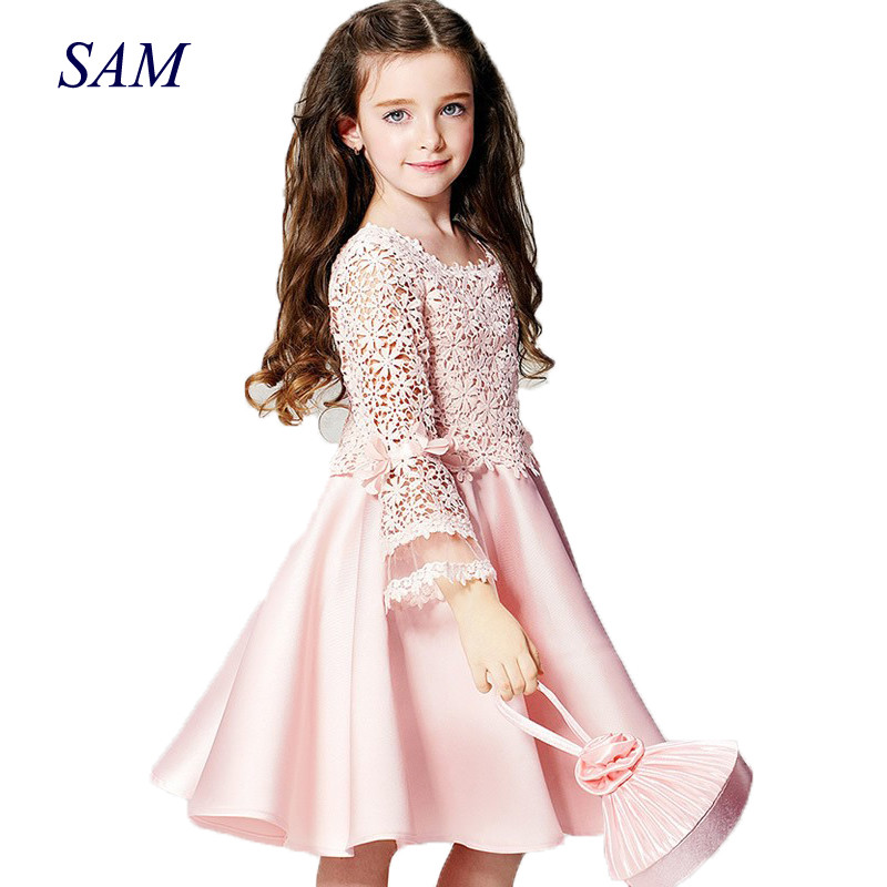 все цены на 2018 summer new high quality fashion flower girl princess dress lace long sleeve round neck children clothes free shipping