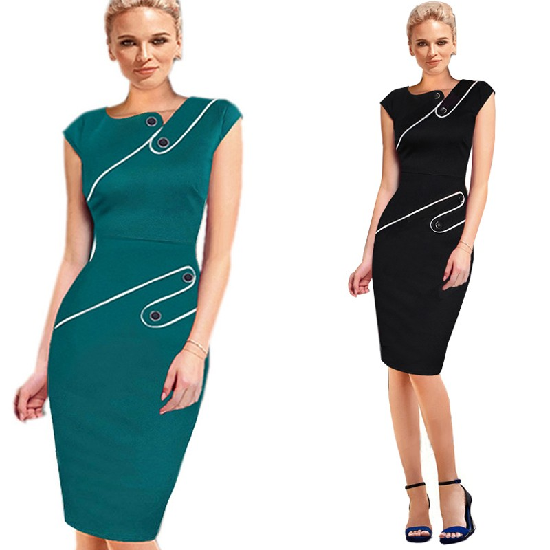 Black Dress Tunic Women Formal Work Office Sheath Patchwork Line Asymmetrical Neck Knee Length Plus Size Pencil Dress B63 B231 13