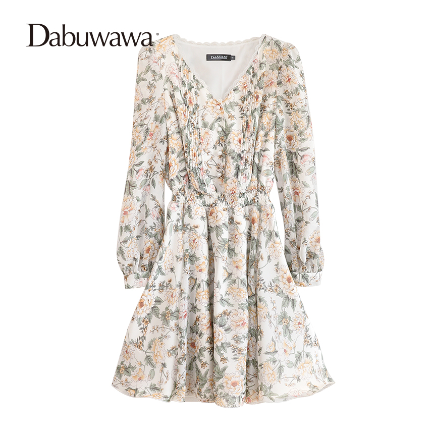 Dabuwawa Белый Весна длинным рукавом по колено платье Повседневное V шеи Цветочный принт платье Винтаж рюшами линия шифоновое платье