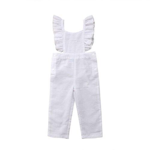Motivata Bambino Infantile Del Bambino Delle Ragazze Bianco Puro Backless Tuta Vestiti Del Pagliaccetto Outfit Salopette Corta