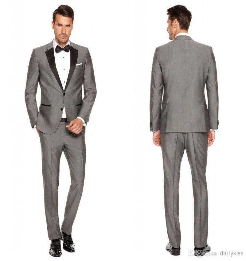 Shiny Grey Groom Tuxedos With Black Notvhed Lapel Dinner