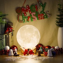 Перезаряжаемые 3D печать Луны замена лампы сенсорный выключатель Спальня Этажерка ночной Светильник домашний декор креативный подарок
