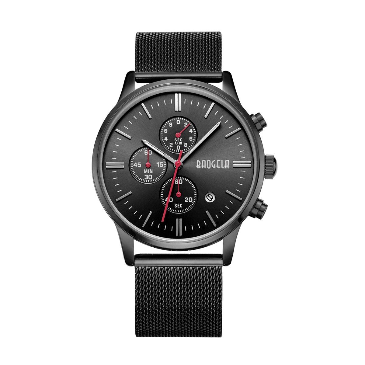 цена на BAOGELA Mens Chronograph Stainless Steel Mesh Strap Sport Quartz Wrist Watches with Luminous Hands 1611