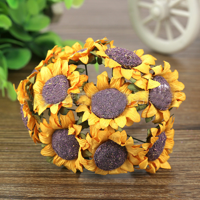 100pcsbag sunflower paper flowers artificial diy hand material 100pcsbag sunflower paper flowers artificial diy hand material garland 3cm for wedding decorations and mightylinksfo