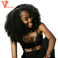 Mongolian Afro Kinky Curly Hair Weave 3 Human Hair Bundles With Closure 4Pcs Bundles With Lace