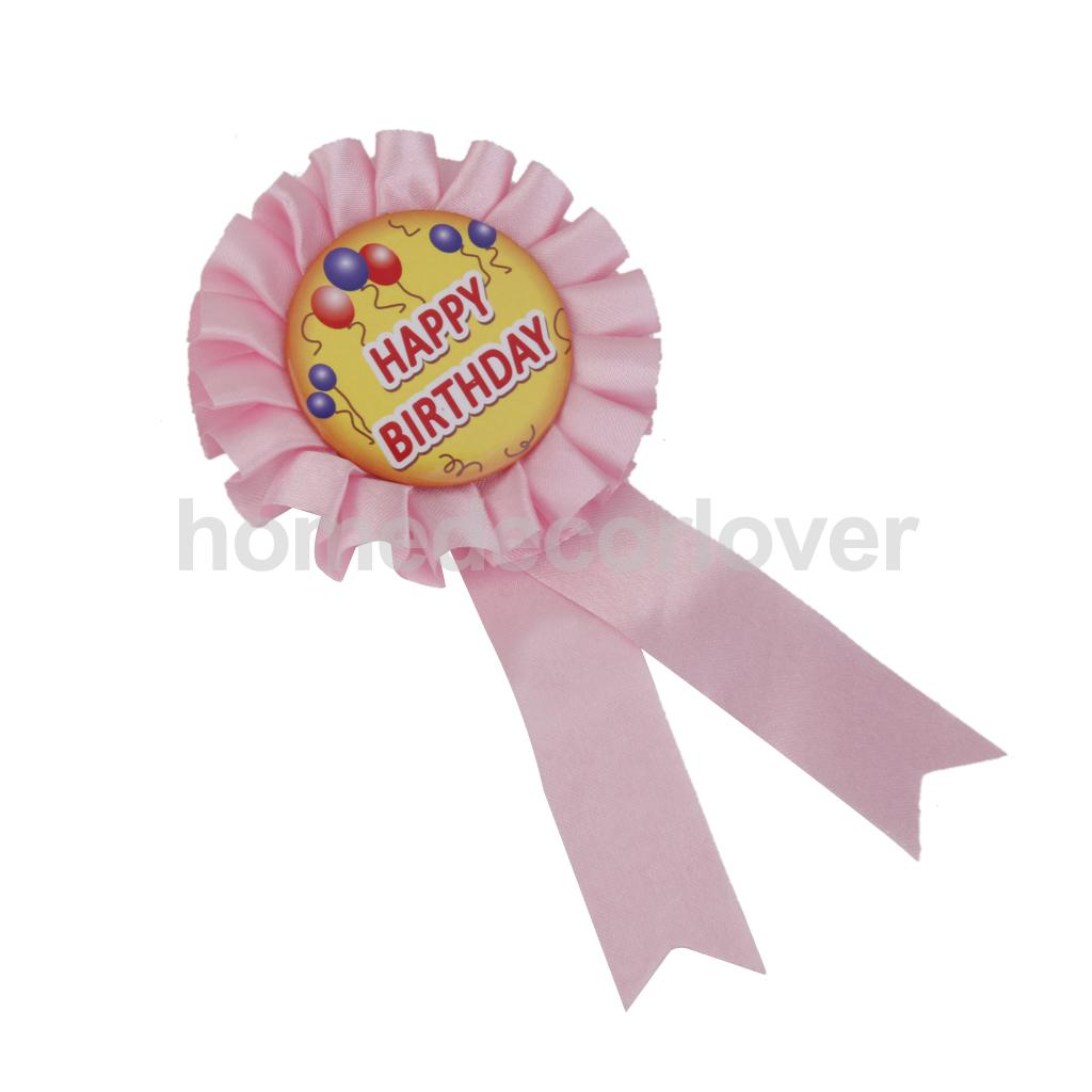 Happy Birthday Ribbon Badge Pin Child Kids Birthday Party